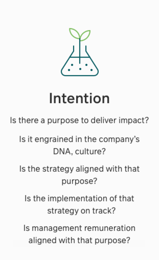 Intention - Is there a purpose to deliver impact? Is it engrained in the company's DNA, culture? Is the strategy aligned with that purpose? Is the implementation of the strategy on track? Is the management remuneration aligned with that purpose?
